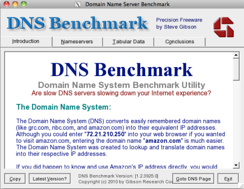 DNS Benchmark home screen